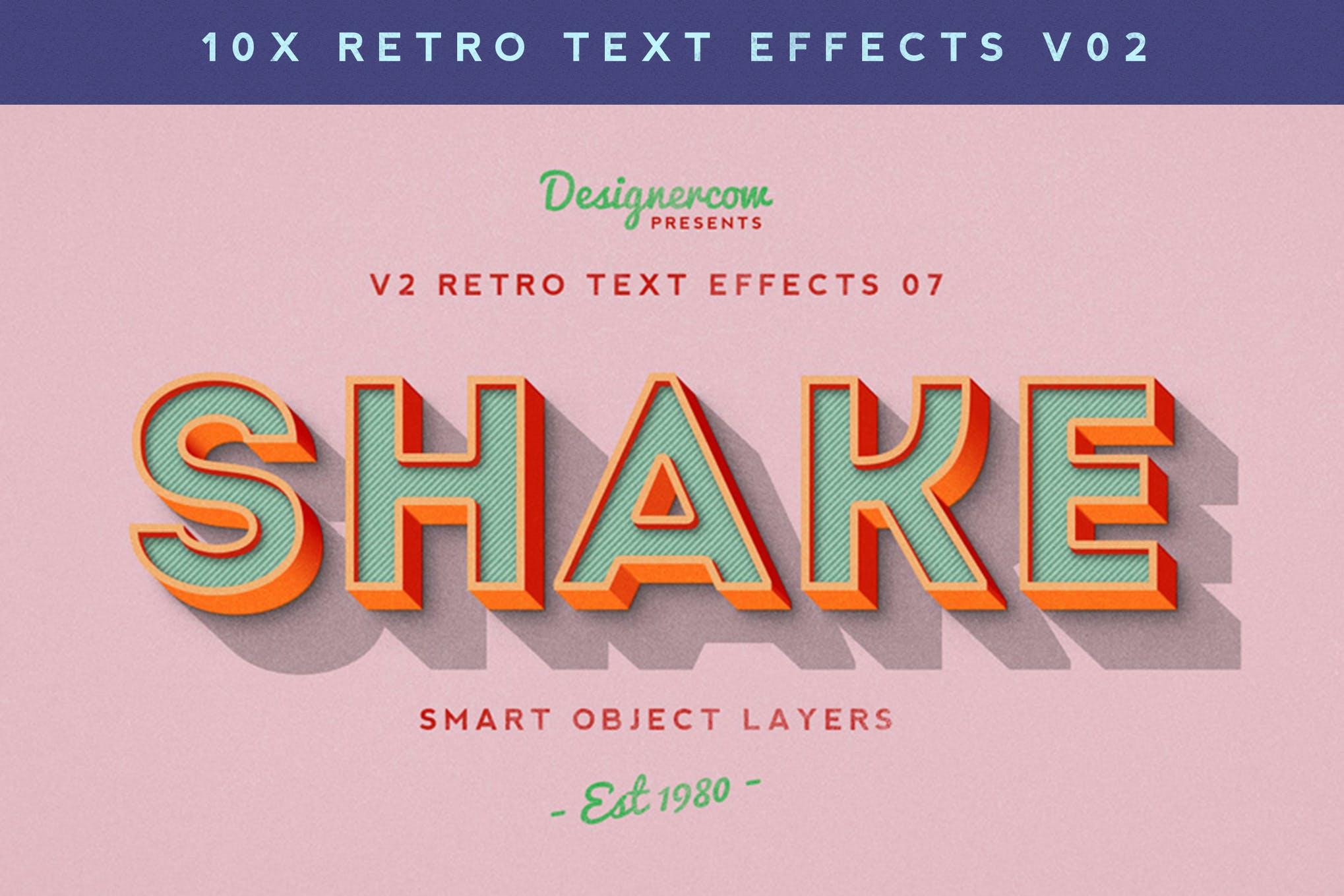 10款复古3D立体效果徽标标题字体设计PS样式模板 Retro Text Effects V2插图