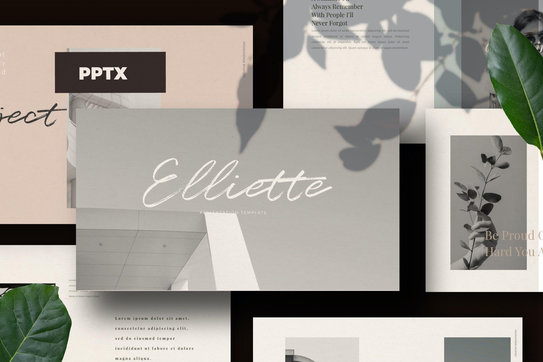 轻柔摄影作品集演示文稿设计模板 Elliette – Powerpoint插图