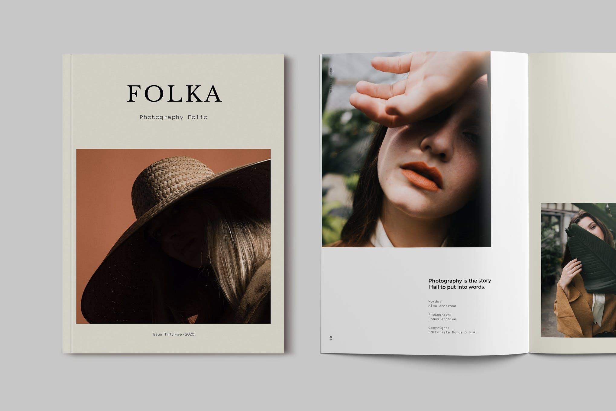 时尚摄影作品集宣传画册设计INDD模板 Photography Portfolio Brochure Template插图