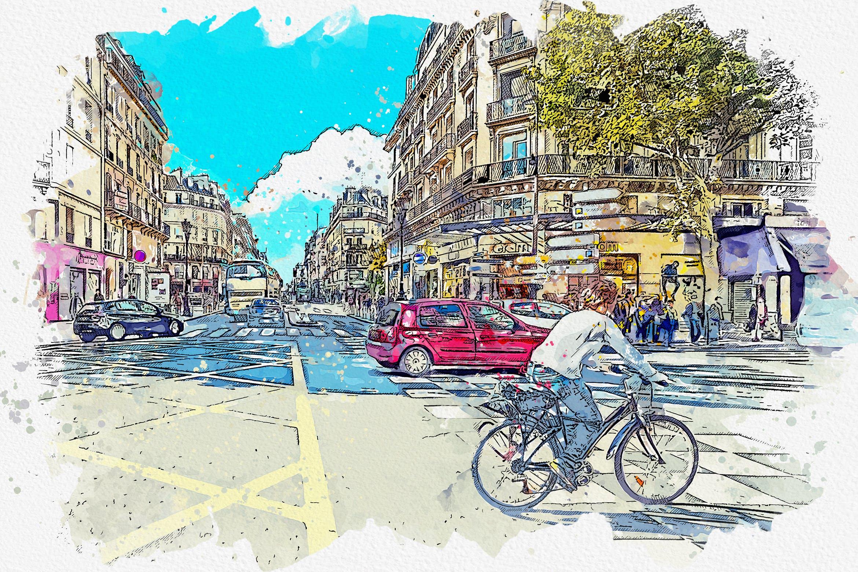 手绘水彩素描效果城市照片后期特效PS动作 Urban Sketch Photoshop Action插图