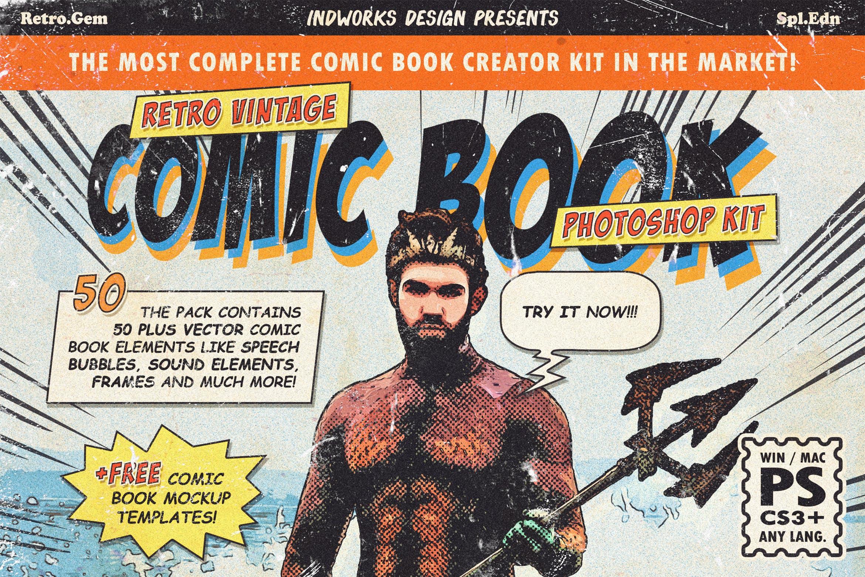 逼真复古手绘漫画效果照片后期处理特效PS动作 Retro Comic Book Photoshop Action Kit插图