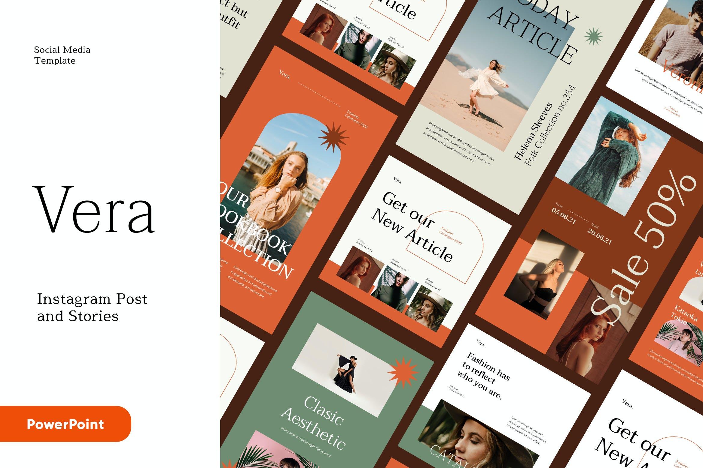 时尚服装品牌故事推广新媒体海报设计PPT模板 Vera – Instagram Post and Stories Powerpoint插图