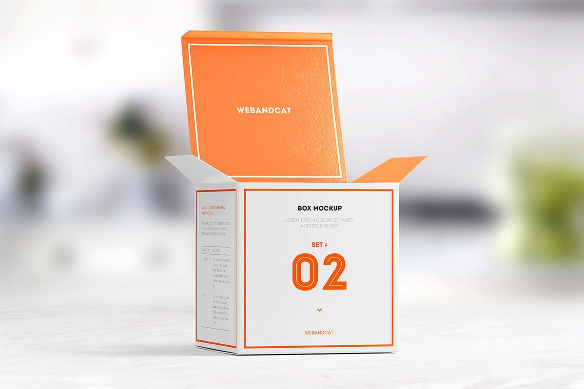 7款方形产品包装纸盒外观设计展示样机模板 Package Box Mockup: Square Box插图