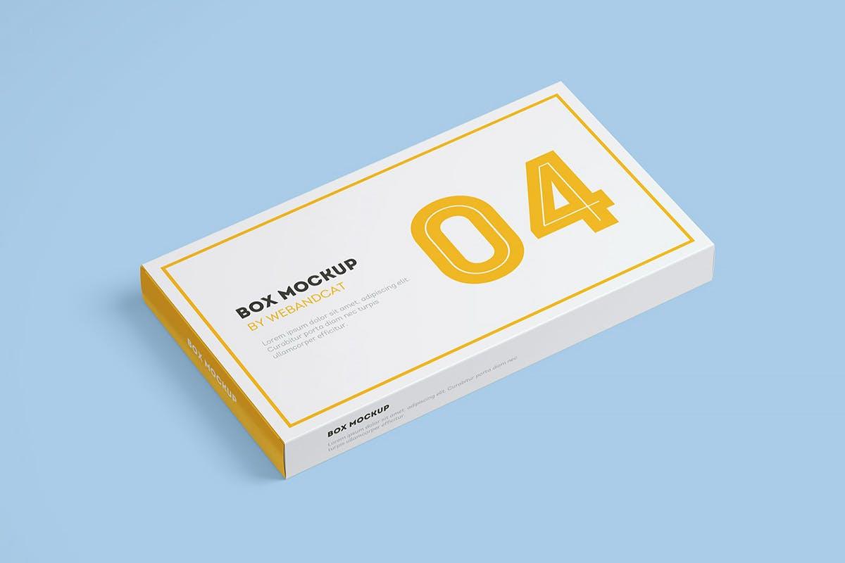 9款平面矩形药片包装盒设计展示样机模板 Package Box Mockup: Flat Rectangle Box插图