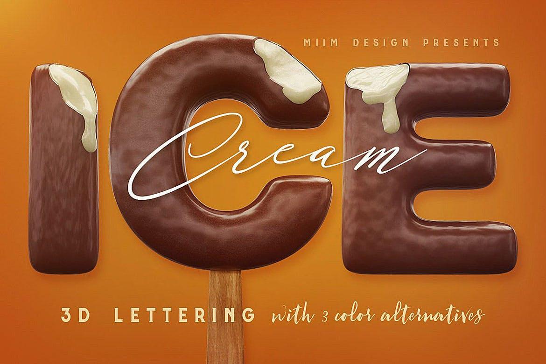 逼真高清3D冰激凌冰棍刻字效果PNG图片素材 Ice Cream – 3D Lettering插图
