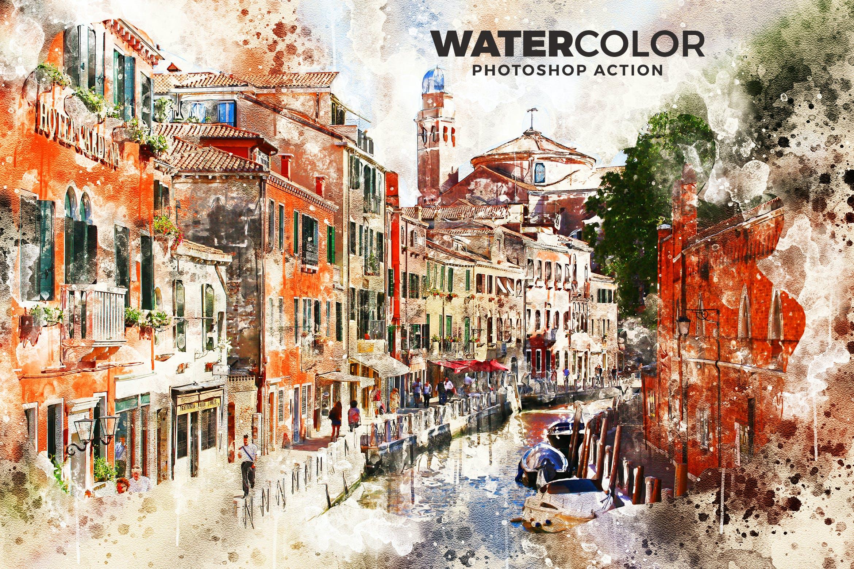 抽象水彩画照片处理效果Photoshop动作 Watercolor Photoshop Action插图