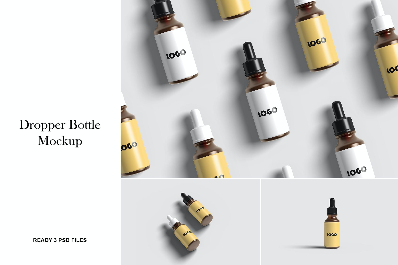化妆品药物滴管瓶设计展示样机 Dropper Bottle Mockup插图