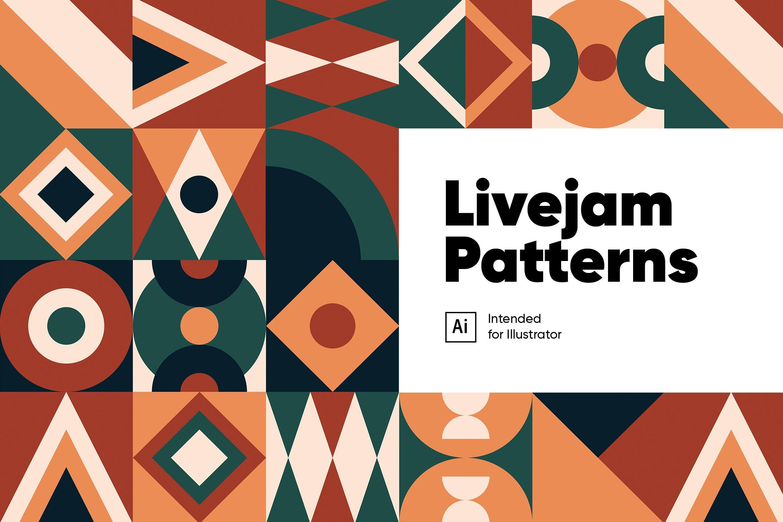抽象手绘几何图案背景矢量素材 Livejam Abstract Patterns Pack插图