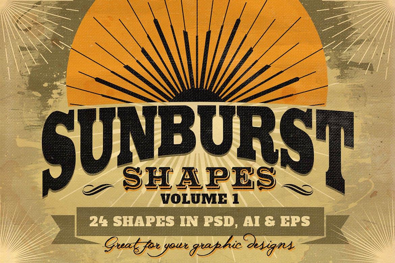 24款森伯斯特形状矢量素材 Sunbursts Shapes Vol.1插图