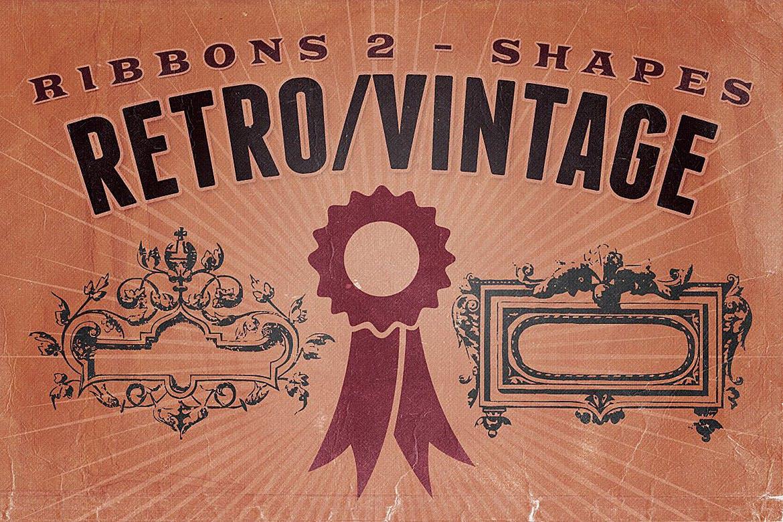 60款复古形状丝带矢量图案素材 Retro/Vintage shapes – Ribbons 2插图