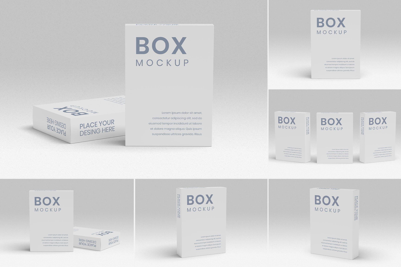 8款方形产品包装纸盒设计展示样机 Box Mockup 8 PSD Files插图