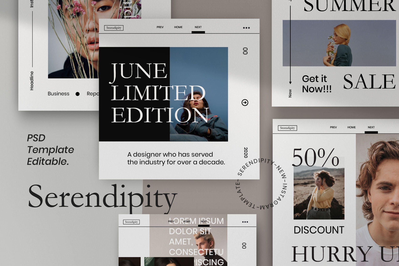 潮流品牌推广新媒体海报设计模板 Serendipity-Minimalism Social Media插图