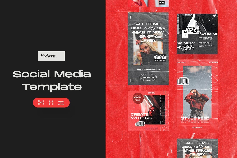 潮流服装品牌推广社交新媒体海报设计模板 Social Media Template插图