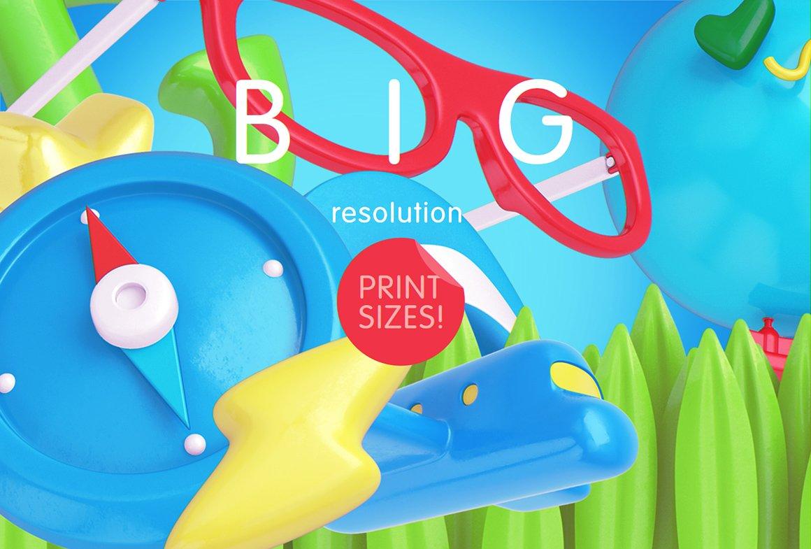 趣味卡通3D立体旅行主题场景元素海报设计智能贴图PSD样机素材 Bright Travel Items Scene Generator插图(2)