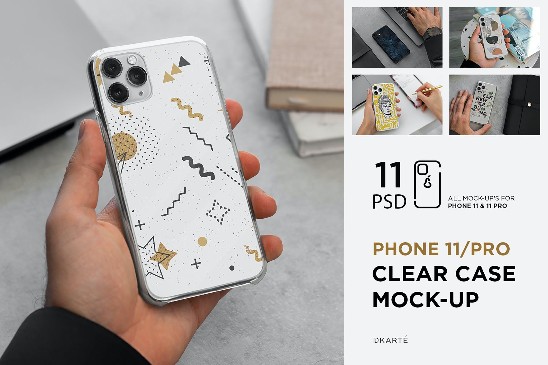 11款Phone 11/Pro智能手机壳外观设计展示样机模板 Phone 11/Pro Clear Case Mockup插图