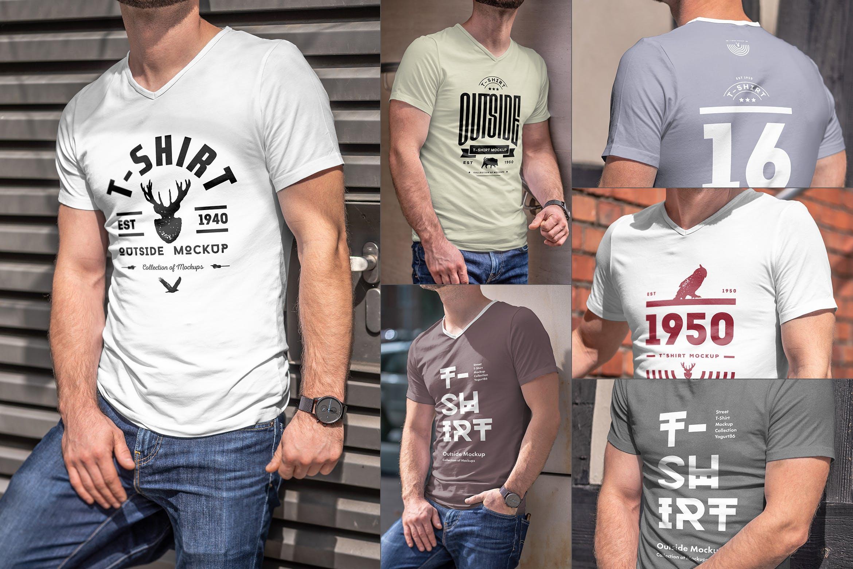 10款男士T恤印花设计展示样机模板 T-Shirt Mockup 5插图