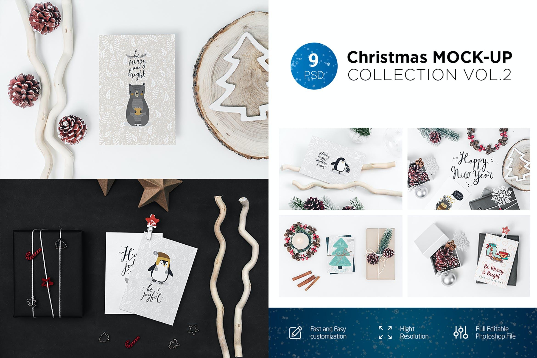 9款圣诞节贺卡邀请函设计展示样机合集 Christmas Mockup Collection Vol.2插图