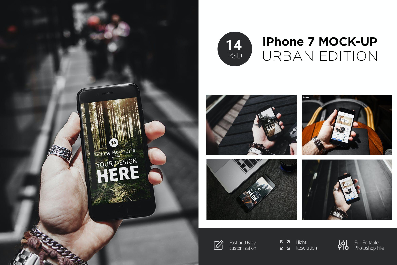 14款APP应用界面设计iPhone 7屏幕演示样机模板 iPhone 7 Urban Edition插图