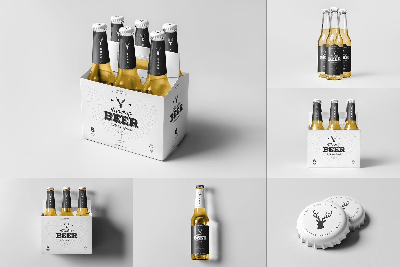 7款啤酒玻璃瓶标签设计展示样机模板 Beer Mockup 5插图