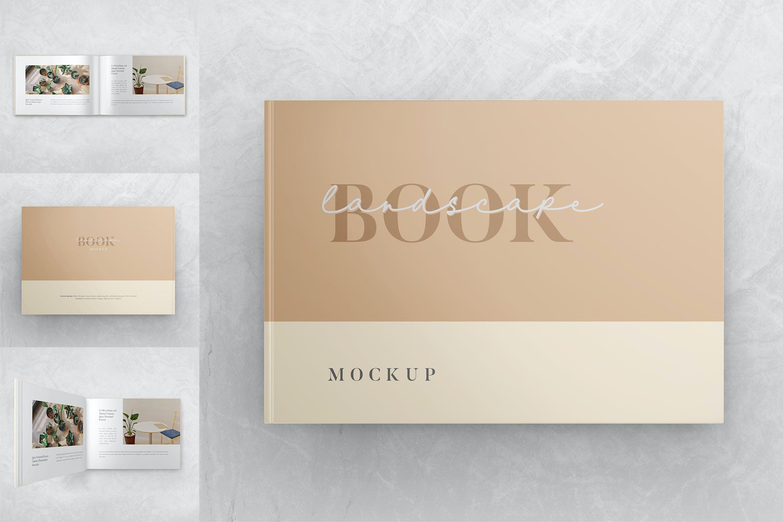 横向精装书画册设计智能贴图样机 Landscape Book – Mockup Vol.2插图