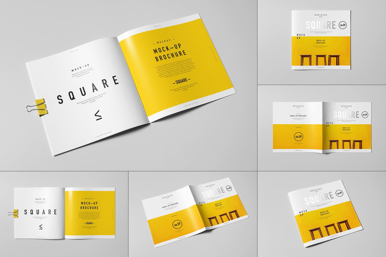 8款方形杂志画册设计展示样机模板 Square Brochure Mockup插图
