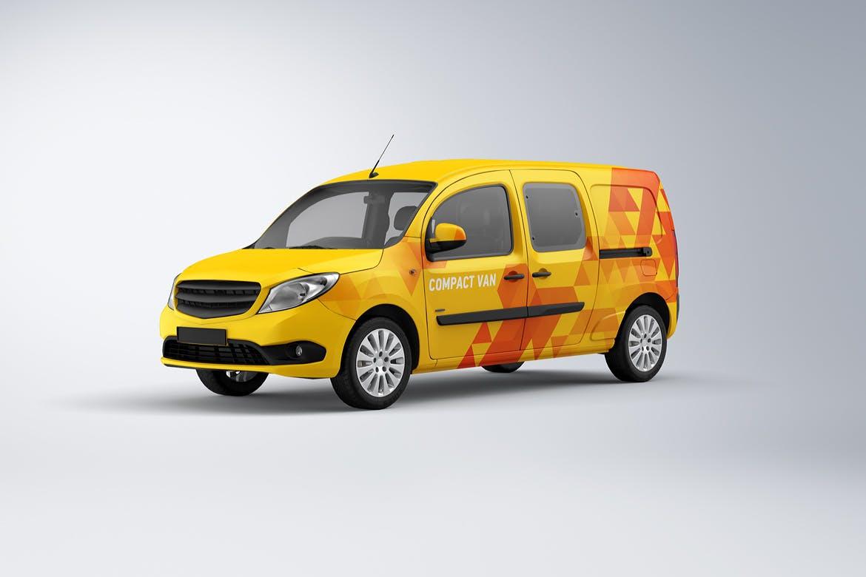 10款紧凑型面包车封闭货车车身广告设计展示样机 Compact Van Mockup插图