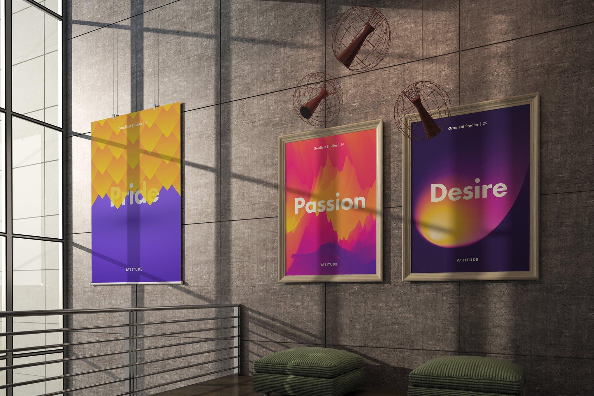 室内走廊相片艺术品海报样机模板 Gallery Mockup 3插图