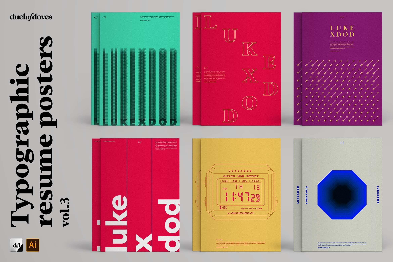 时尚海报简历文字版式设AI模板素材 Typographic Resume Posters – Vol. 3插图