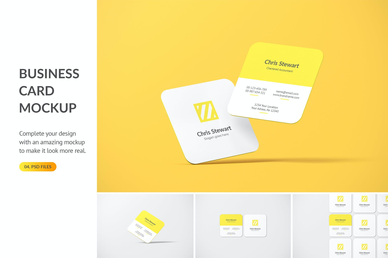 圆角方形商务名片卡片设计智能贴图样机模板 Rounded Square Business Card Mockup插图