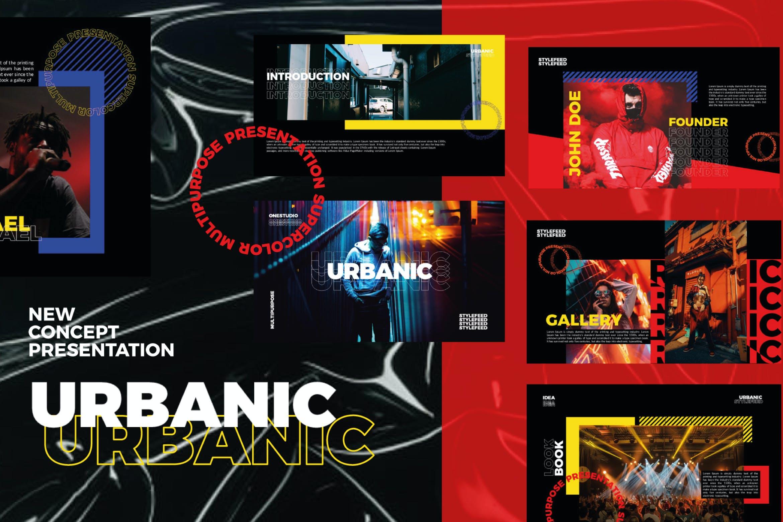 潮流服装摄影作品集PPT幻灯片设计模板 Urbanic Powerpoint Templates插图