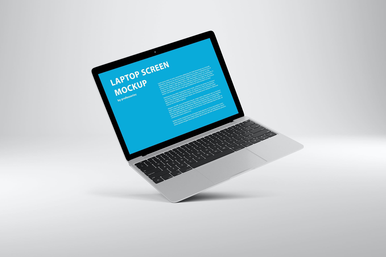 网页WEB设计笔记本电脑屏幕演示样机 14×9 Screen Mockup – Silver插图