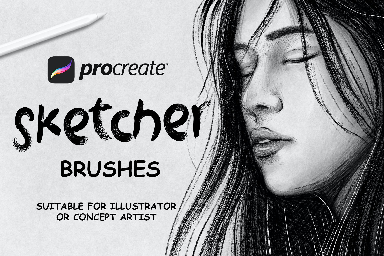 素描铅笔绘画效果Procreate笔刷下载 Sketcher Brushes – Procreate Brush插图