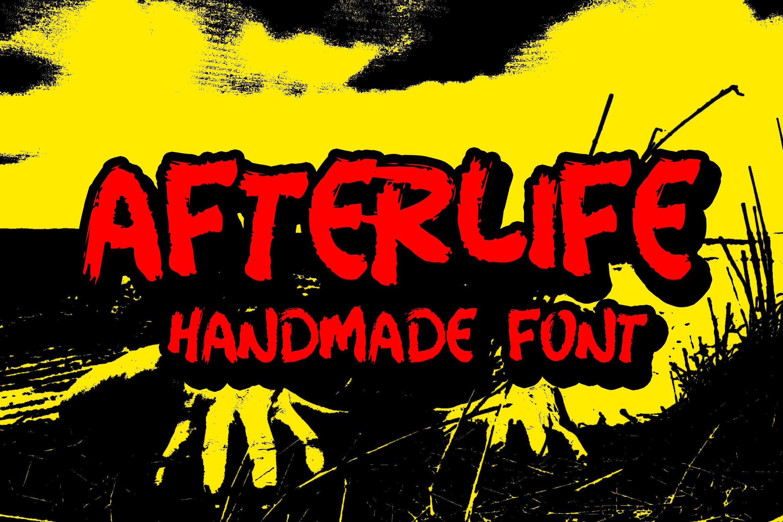 手写毛笔笔刷效果英文字体下载 Afterlife Handmade Font插图