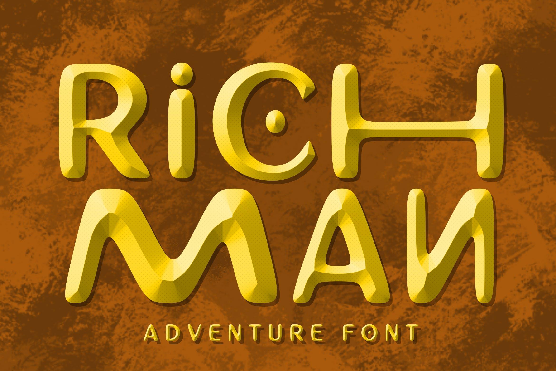 卡通手写3D立体字体PS文字样式毛笔 Richman Adventure Font插图