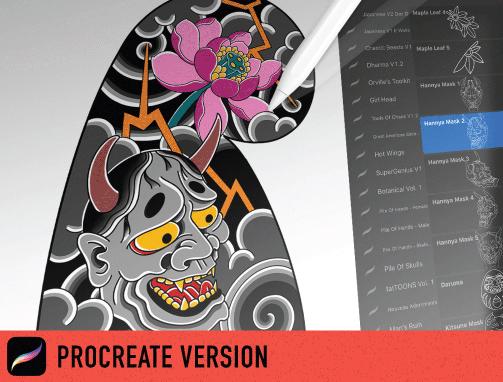 100款日系风格动物花卉符号Procreate笔刷合集 Japanese Procreate Brush Set插图