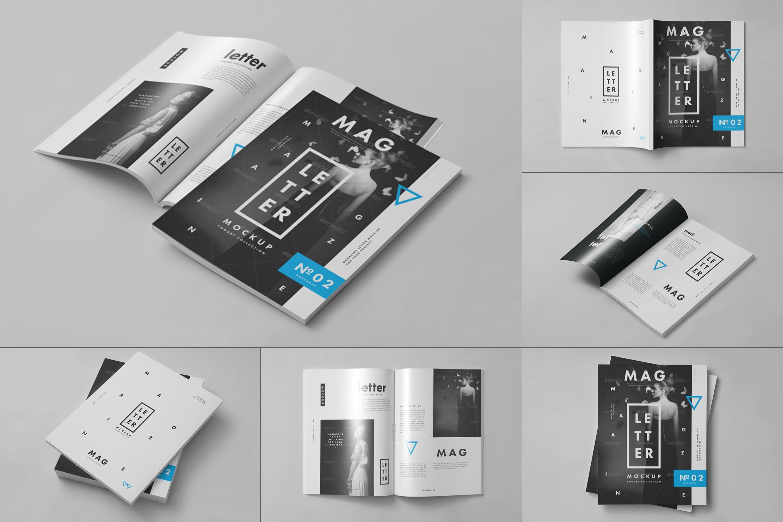 9款杂志画册目录设计展示样机模板 US Letter Magazine Mockup 2插图