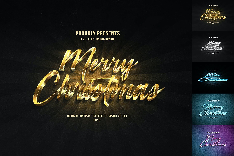 金属质感立体效果圣诞文字PS样式模板 Christmas Text Effects插图