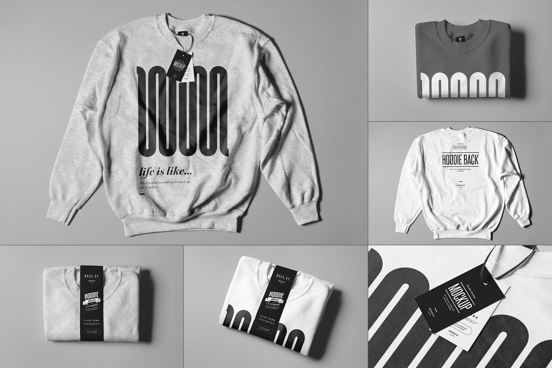 6款圆领毛衣印花设计展示样机模板 Crewneck Sweater Mockup插图