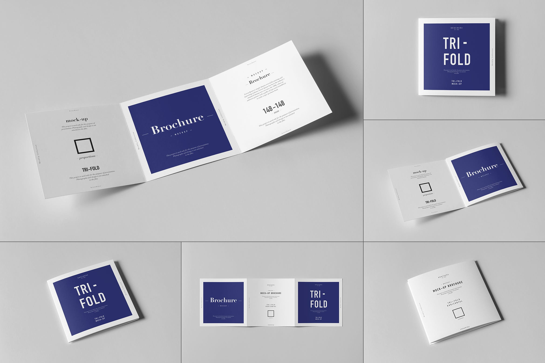 8款三折页小册子设计展示样机模板 Tri-Fold Square Brochure Mockup插图