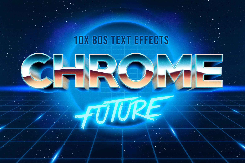 80年代复古3D立体海报标题徽标字体设计PS样式模板 80s Text Effect V3插图