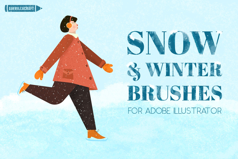 30个冬季雪花AI矢量笔刷素材 Snow And Winter Brushes For Adobe Illustrator插图