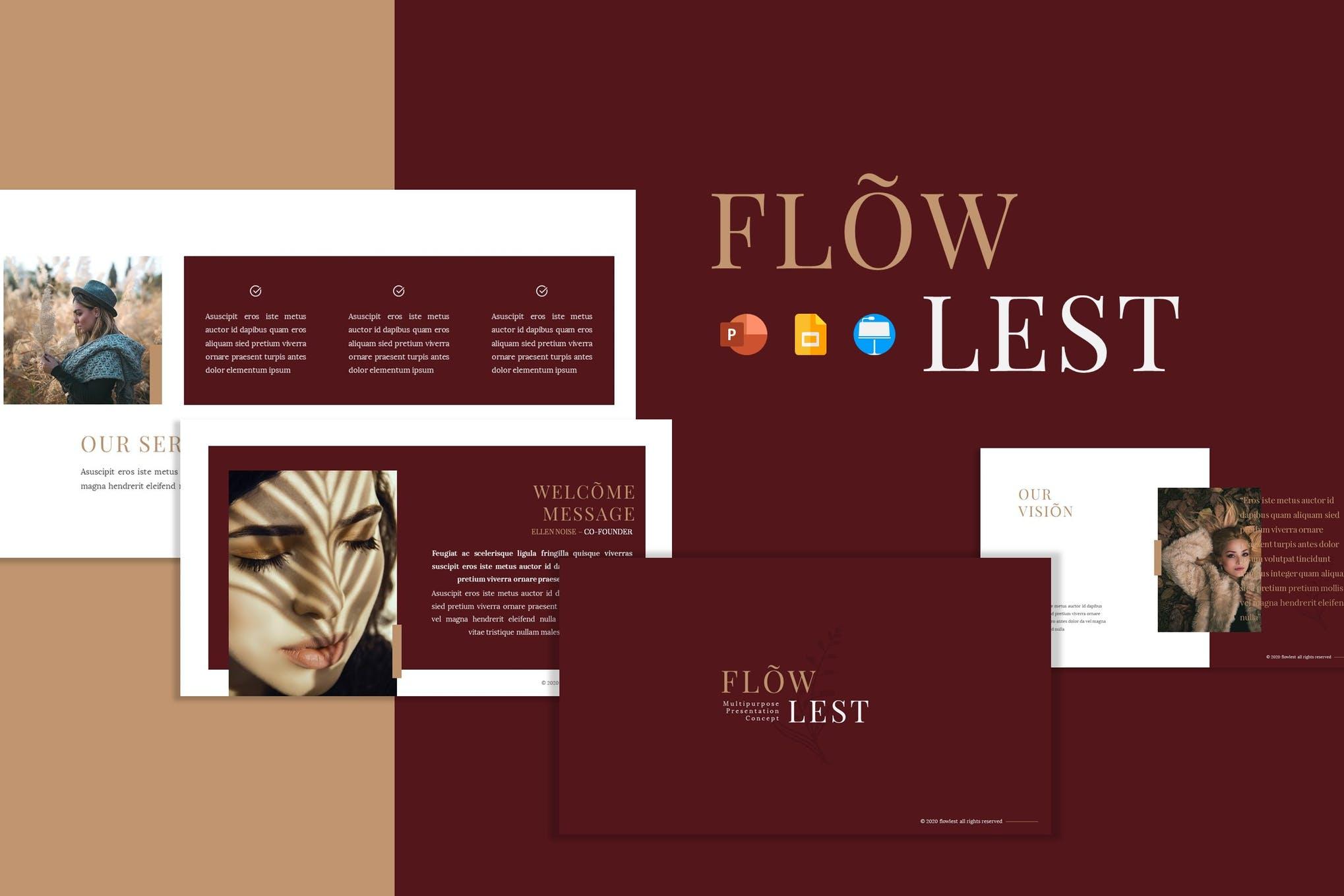 多用途服装营销策划案演示文稿设计模板 Flowlest – Presentation Template插图