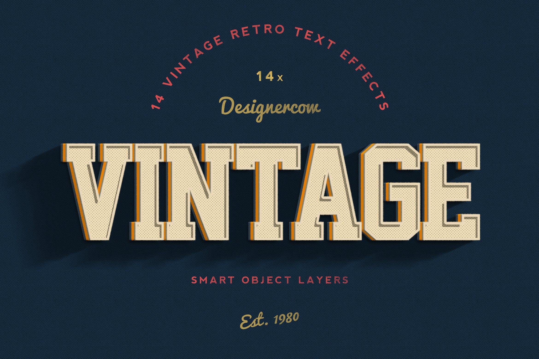 14款老式复古3D立体效果徽标标题字体设计PS样式模板 14 Vintage Retro Text Effects插图