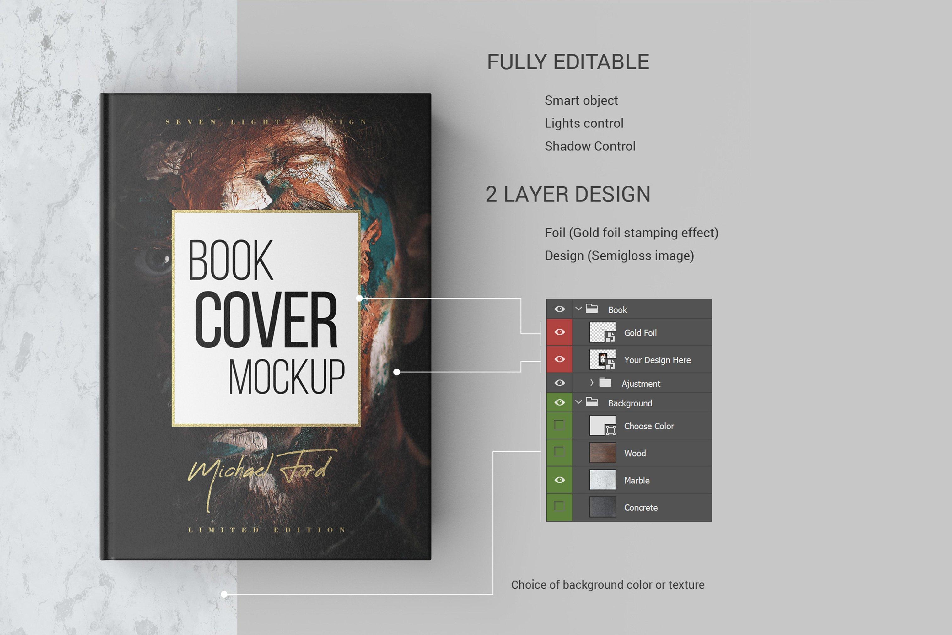 7款精装书封面设计展示样机模板集 Book Cover Mockup Set插图(9)