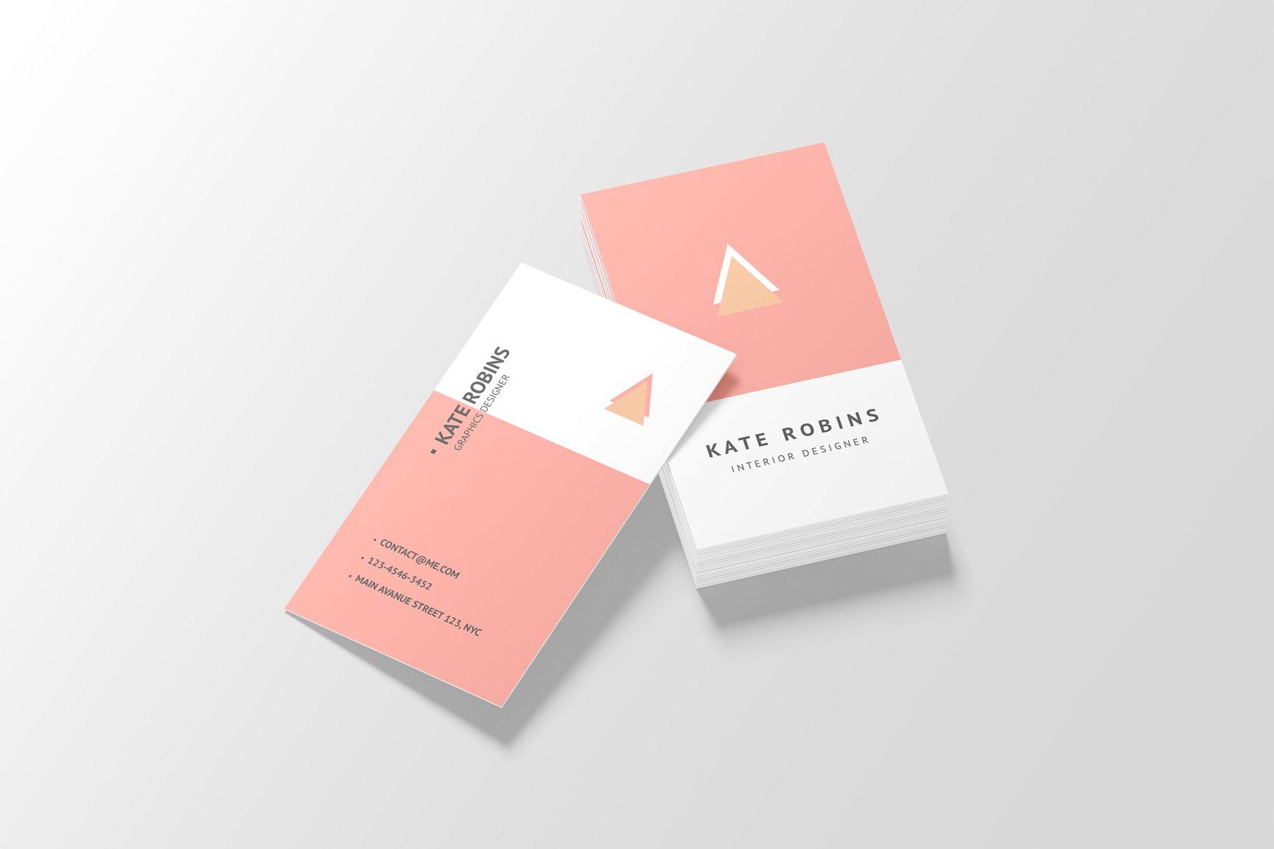 14款商务个人名片卡片设计展示样机 Portrait Business Card Mockup插图(10)