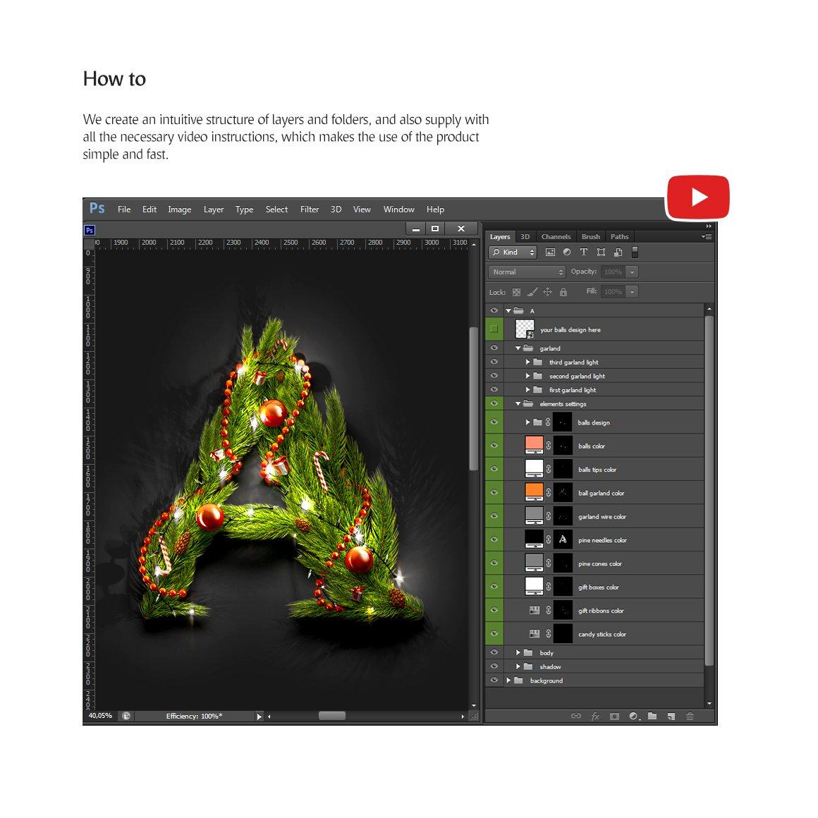62款圣诞节主题字母数字设计动态展示PSD样机模板 Christmas Animated Typeface插图(7)