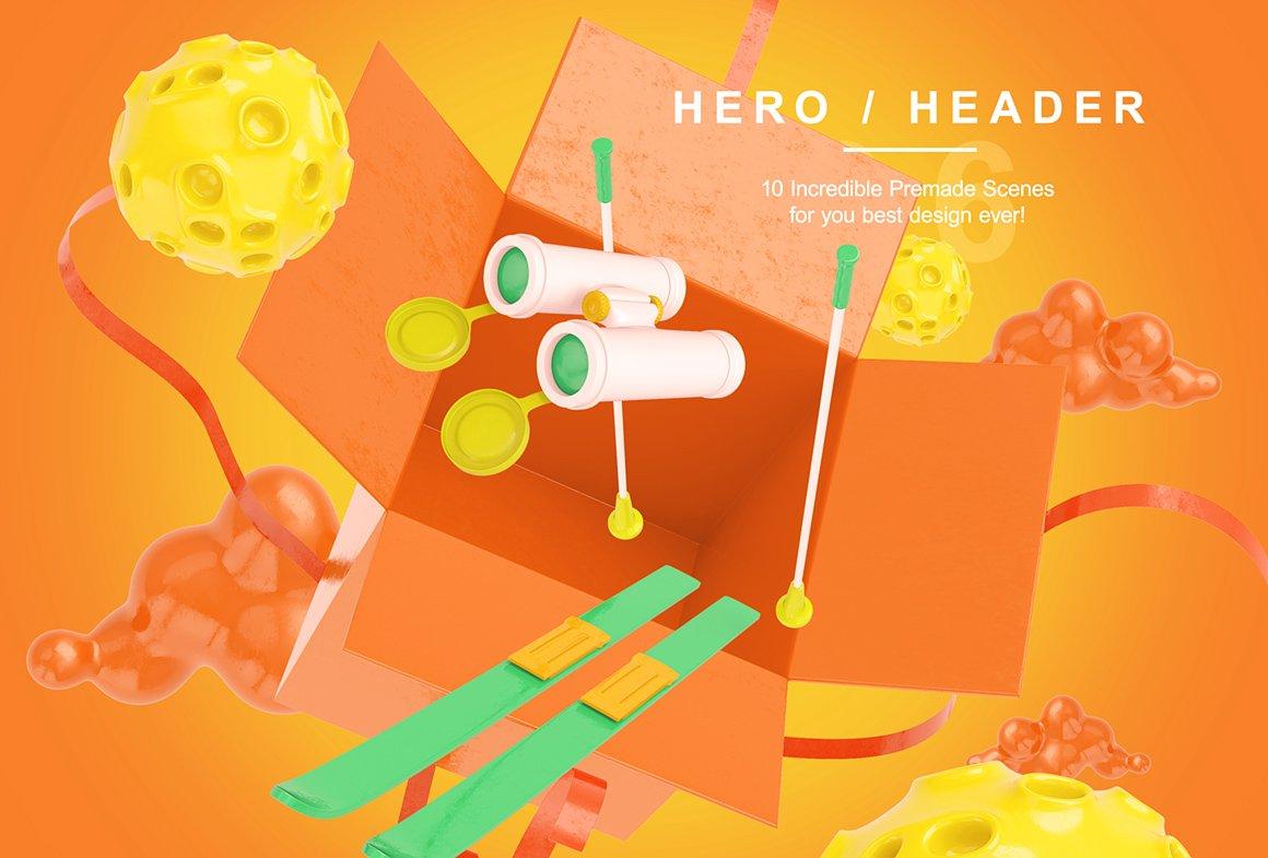 趣味卡通3D立体旅行主题场景元素海报设计智能贴图PSD样机素材 Bright Travel Items Scene Generator插图(9)