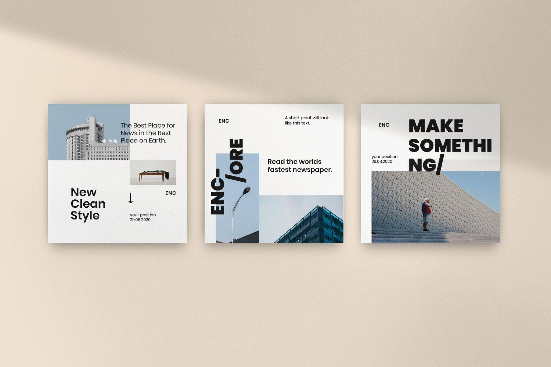 时尚简约城市摄影推广社交新媒体设计模板 ENCORE – Minimal Business Instagram插图(9)
