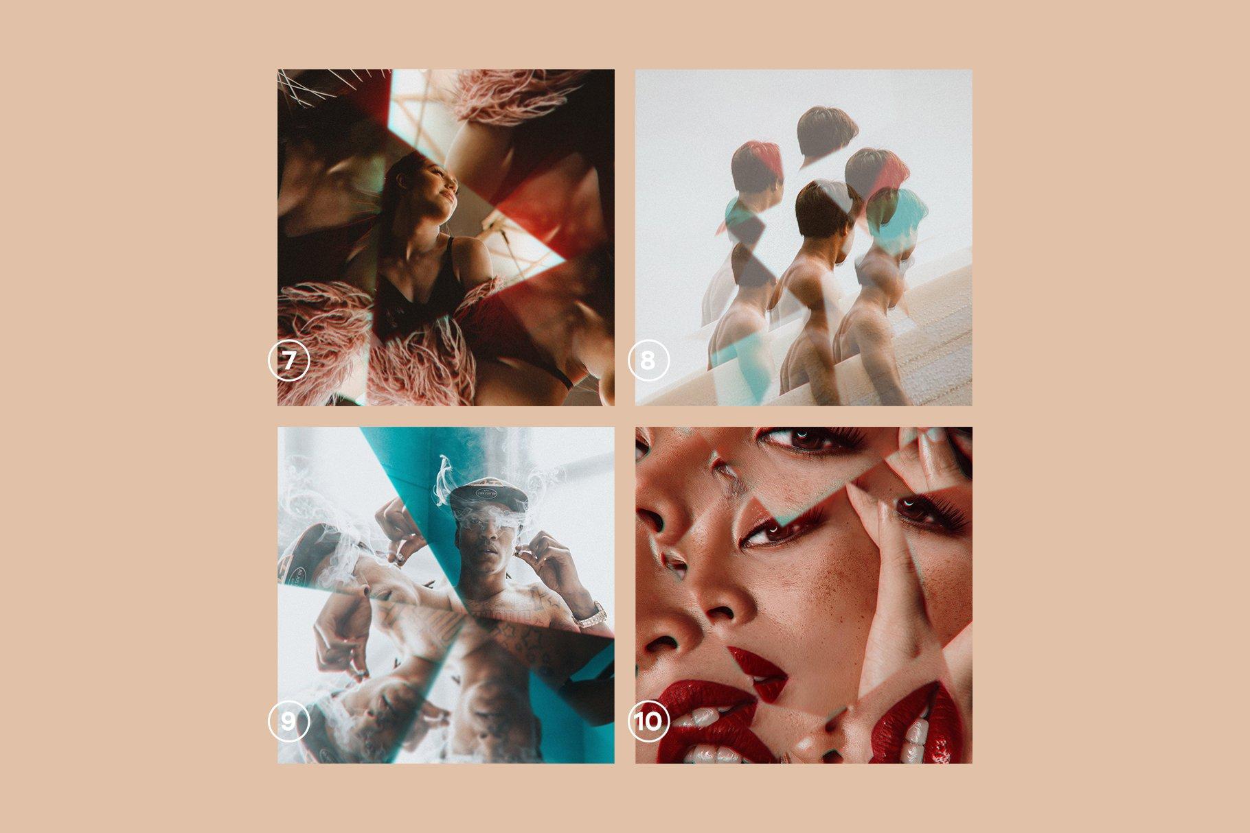 梦幻抽象艺术万花筒棱镜玻璃反射特效滤镜PS样式模板 Prizm – Lens & Prism Distortions插图9