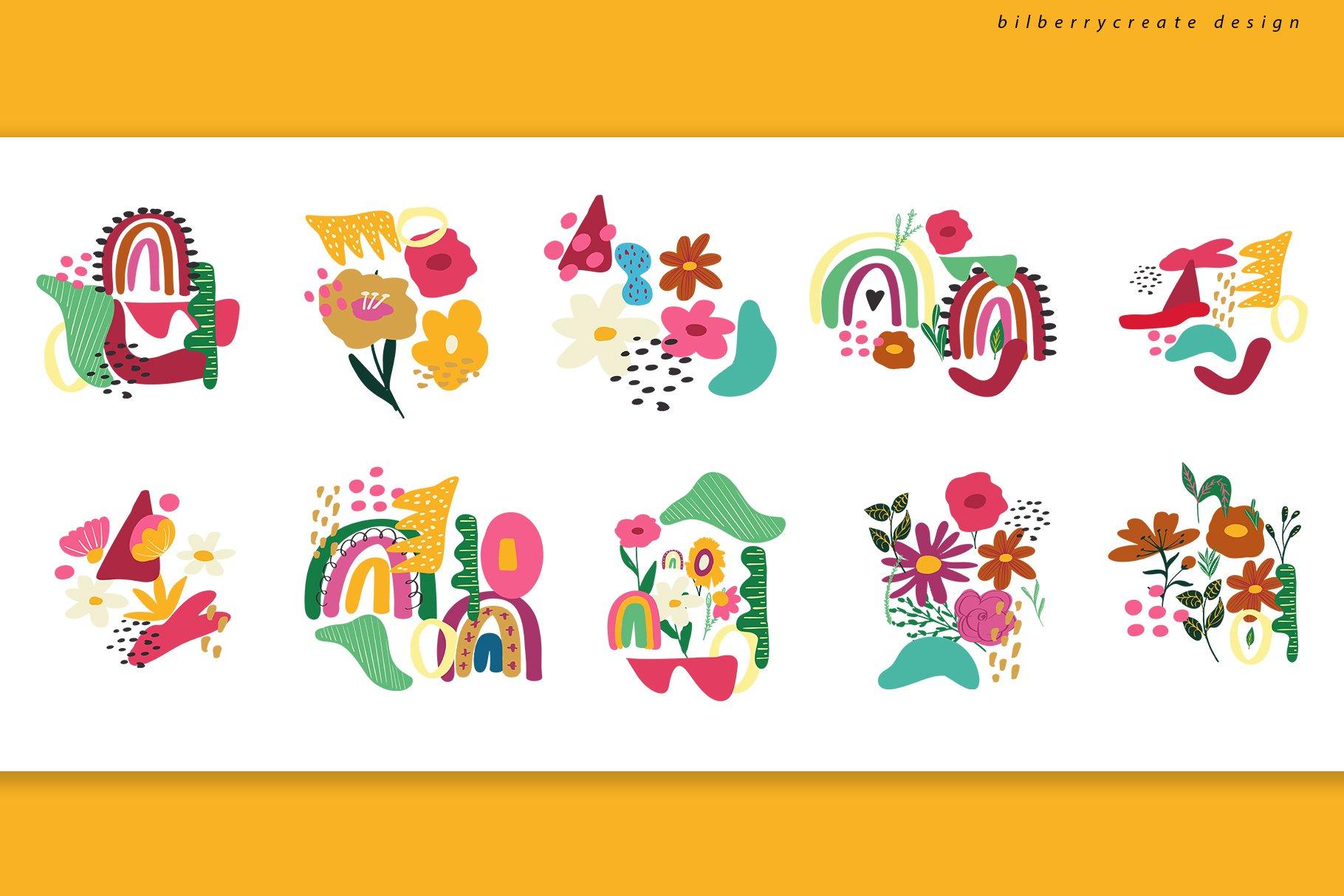 现代卡通抽象花卉彩虹元素矢量插图 Playful Naive Art Abstract插图(9)
